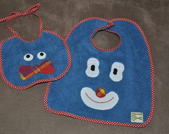 Set of two bibs teal baby themed clown