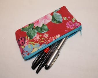 Red floral fabric glasses cases or Kit