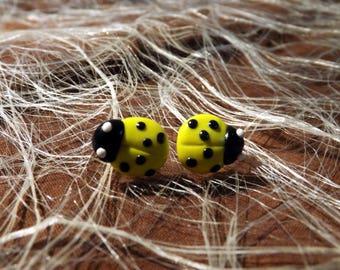 Yellow polymer clay Ladybug Stud Earrings