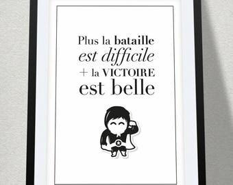 Poster quote + superhero - size 30 x 40 cm