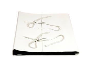 White Leather photo album, Black Interior, cm 35 x 35-50 pages