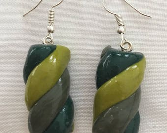 Earrings wire jewelry clay Marshmallow/Marshmallow gourmand fancy