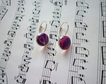 Set ring and fancy Earrings: plum and pink