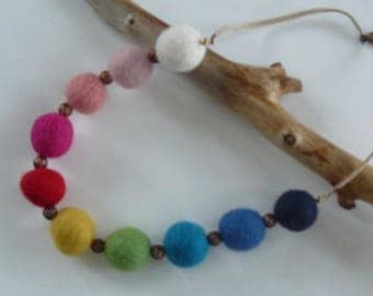 """""""Rainbow"""" felted wool necklace"""