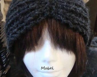 Dark grey headband, knit, alpaca, acrylic