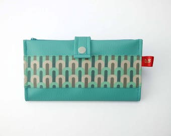 Turquoise faux leather checkbook wallet