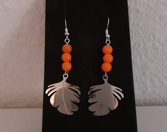 Earrings orange neon and silver