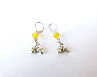 """""""Autumn reflections"""" Stud Earrings silver Citrine tassel jewelry wicca witch woman"""