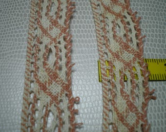 woven vintage Ribbon old pink and white