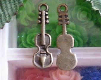 10 Tibetan style pendants, lead and cadmium free, bronze antique, violin, 37 x 12 x 2 mm, hole: 2 mm