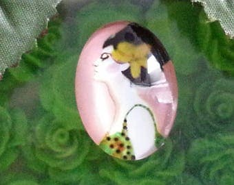 1 cabochon women ornaments themes glass oval cabochons with flat back, colorful, 25 x 18 x 6 mm