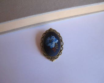 "Brooch vintage blue flower ""skewer me"" fabric"