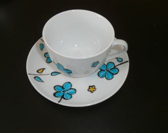 """painted porcelain chocolate or Tea Cup unique """"Manae"""" yellow & turquoise"""