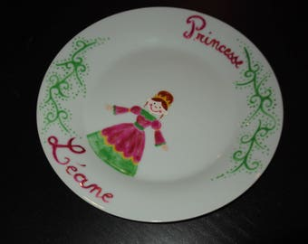 """Princess"" with name in pink and green custom plate"