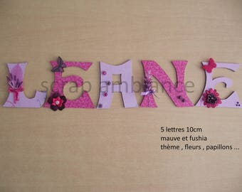 name to stick / wooden name / door / to stick letter / letters to be attached custom flowers and butterflies THEME