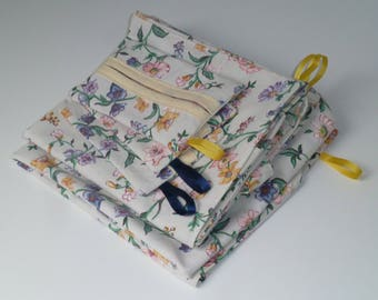 Set floral 6 pieces of recycled fabric: 3 and 3 pockets for handkerchiefs