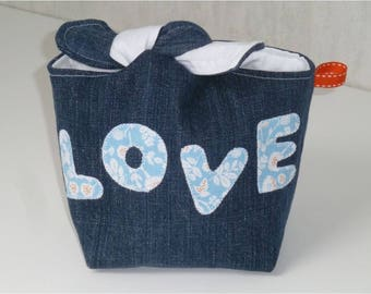Knotted recycled denim pouch, LOVE, white cotton Interior