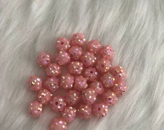 Set of 30 8mm pink shamballa beads