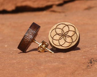 Seed of Life Laser-cut Cherry Wood Post Earring