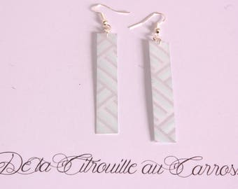 Rectangle earrings, blue, silver and white stripes