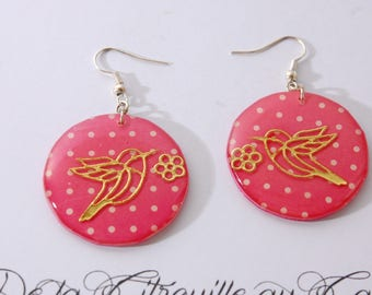Gold plated bird earrings, pink polka dots