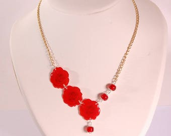 Necklace Red Roses, red glass beads