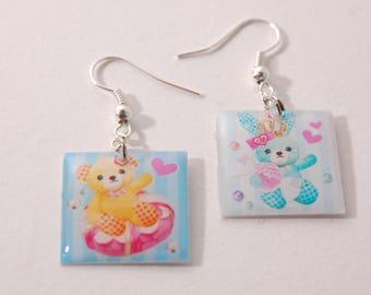 Bear and rabbit, kawaii style Stud Earrings