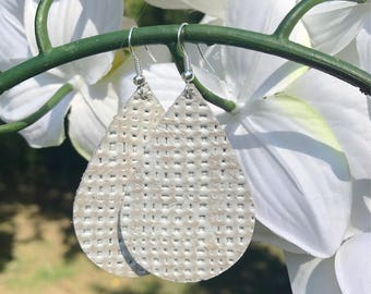 Cream Basket Weave Leather Earrings