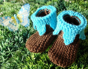 Booties for baby - Pixie - Brown/turquoise - size 0-3 months
