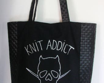 Bag Tote Knit addict-in heavy canvas and faux