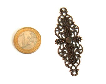 2 copper patterns flowers 61 x 24 mm filigree connector