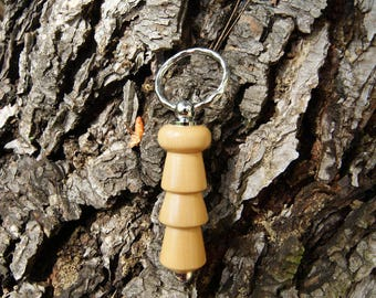 Keychain has been hand-turned in boxwood of Herault wood