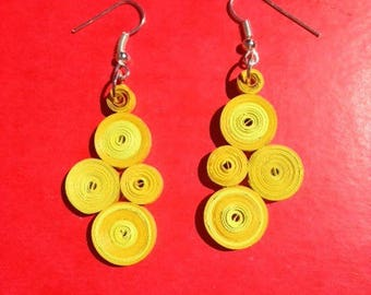 pair of yellow duo rolled paper earrings