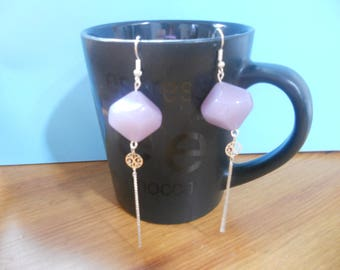 pair of earrings purple Pearl and rose chain