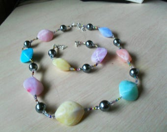 set (necklace and bracelet) colorful, modern, pastel (multicolored)