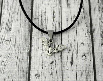 Smile jewelry men necklace black leather bat pendant, Christmas gift idea