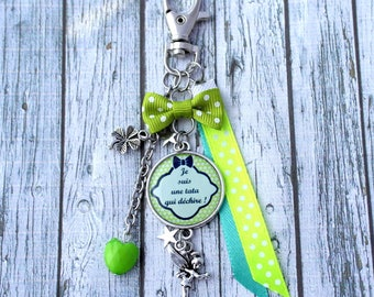 Tata tata cabochon personalized Tinkerbell charm bag charm key holder and clover key tata