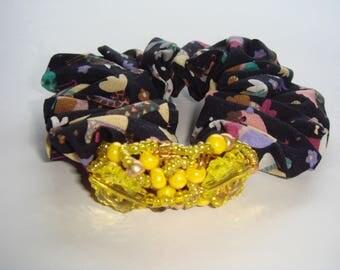scrunchie hair beads acrylic yellow flower