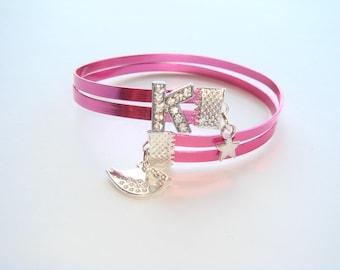 Pink flat rhinestone letter bracelet aluminum wire