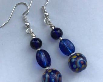 Cobalt Blue Czech Glass Earrings