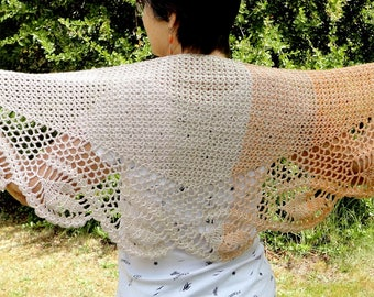 Great summer shawl, stole, scarf shawl women crochet cotton in pink, beige, orange, fall