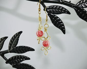 WIRE EARRINGS GOLD PEARL RED MARBLE GOLD PLATED