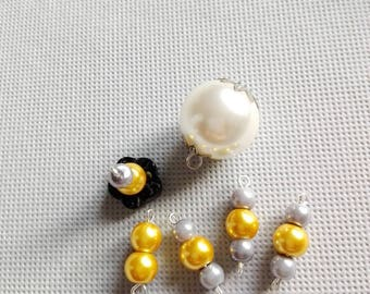 Set of mounted pearl beads, yellow