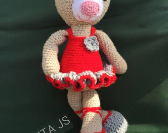 Acrylic wool and cotton crochet handmade toy plush teddy bear dancer