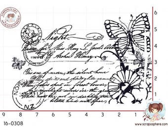 """""""Writing and Butterfly"""" motif rubber stamp mounted on foam"""