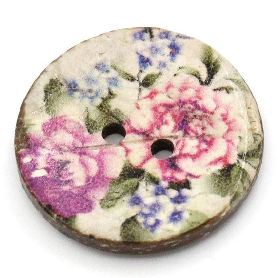 COLORFUL BCO25100 - 2 BUTTON ROUND 25 MM COCONUT WITH PATTERN