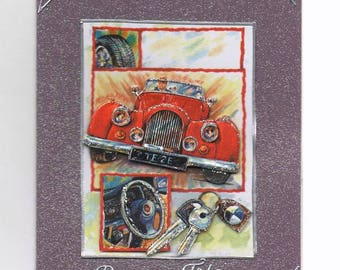 117 - Red car father's Day greeting card