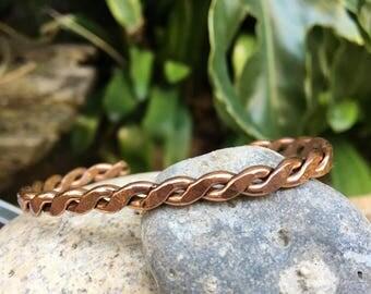Woven copper bracelet