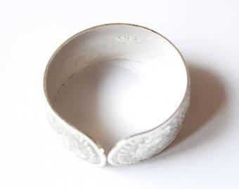 silver plated engraved rigid bracelet