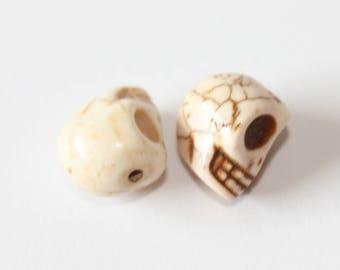 Skull Head, white, 12 mm, the pair